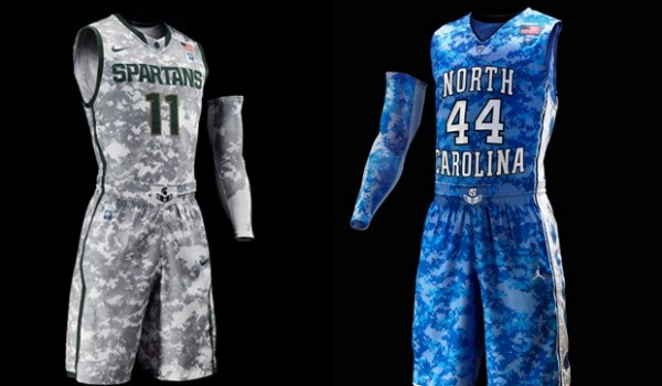 Michigan State v. North Carolina camo basketball uniforms    Google Image Result for http://www.sportsreport360.com/wp-content/uploads/2011/11/Nike-Camo-600x350.jpg