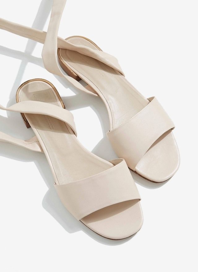 Image of Flat Tie-Around Leather Sandals