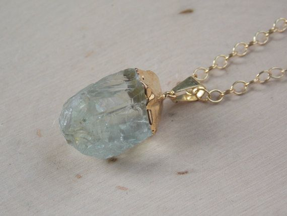 Green Amethyst Necklace on a Gold Filled Chain: by MalieCreations