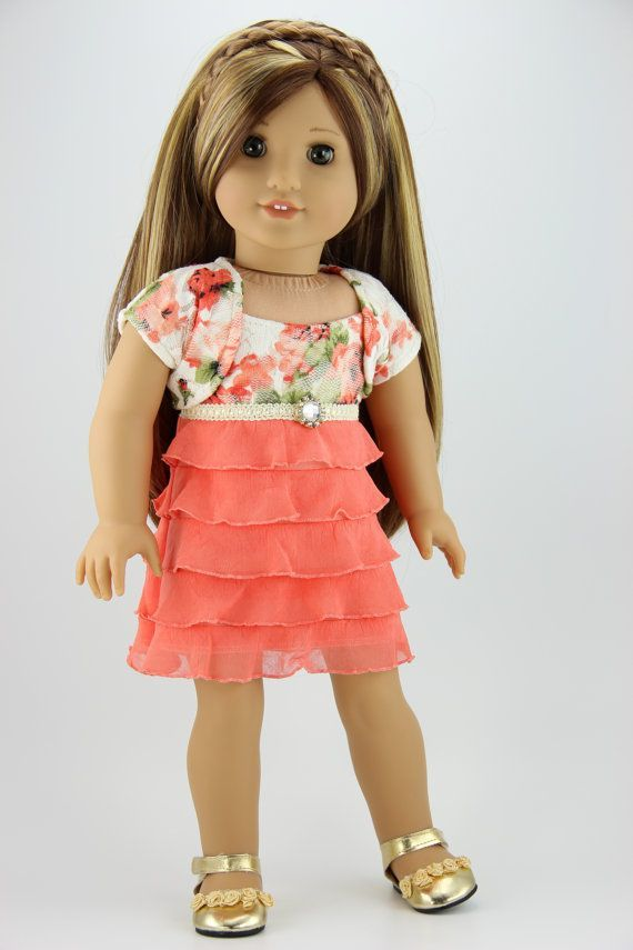 "For 18/"" American Girl Peach /& Coral Ruffled Top Shirt Doll Clothes"