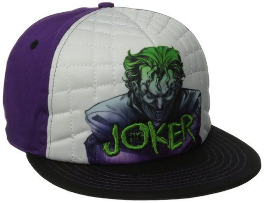 DC Comics Mens Joker Sublimation Print Quilted Adjustable Flat Brim, White, One Size