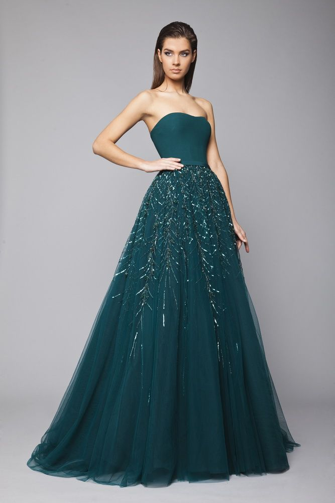 T couture prom dresses emerald