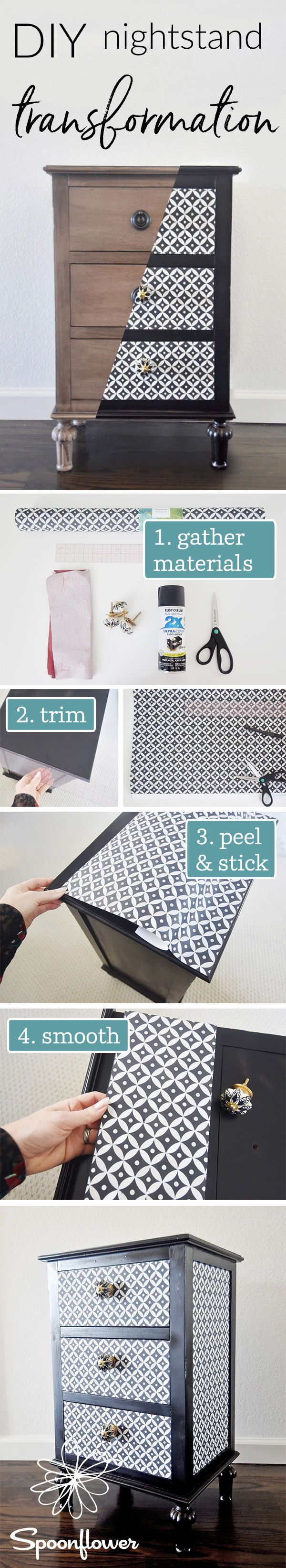 DIY Nightstand Transformation - Revamp a Nightstand with Wallpaper - Follow along with this easy diy tutorial to see the easy steps to turning a drab nightstand into a bold piece of furniture that pops.  Stephanie from The Style Safari takes us through every step of her process of using peel and stick wallpaper to create this bold geometric Moroccan inspired nightstand.  Click to see all the steps of this nightstand transformation.  #diy #easydiy #tutorial #wallpaper #beforeandafter #diyhome