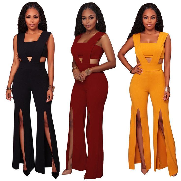 Sexy Women Solid Sleeveless Hollow Clubwear Causal Party Bodycon Jumpsuit Romper