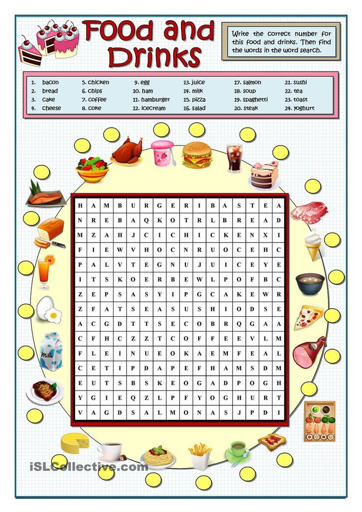 vocabulary wordsearch drinks word puzzles restaurant crossword esl