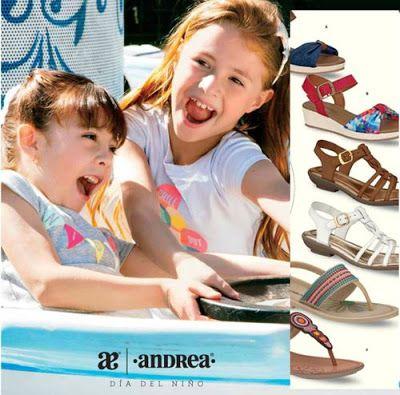 Catalogos Andrea 2016 por el Dia del Niño Mexicano. Hojea ropa y zapatos de moda infantil. Sandalias de niñas, tenis deportivos y mas.