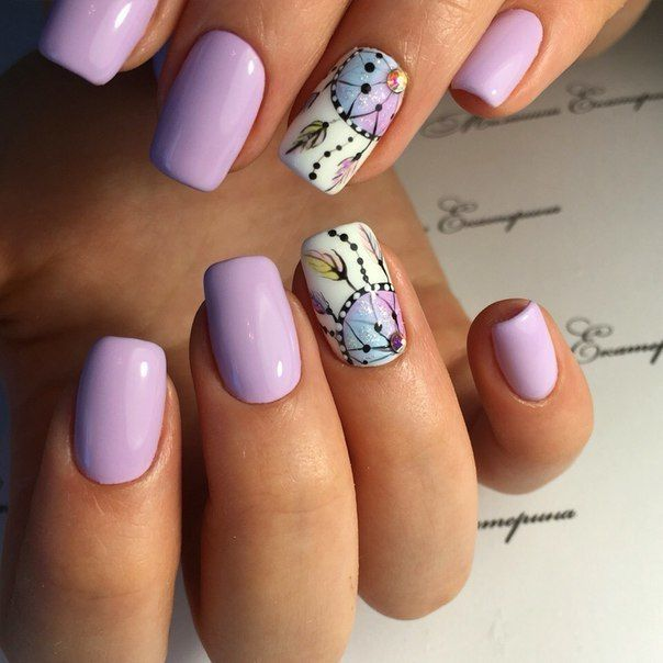 Drawings on nails, Dreamcatcher nails, Ethnic nails, Everyday nails, Pale liliac nails, ring finger nails, Square nails, Two-color nails