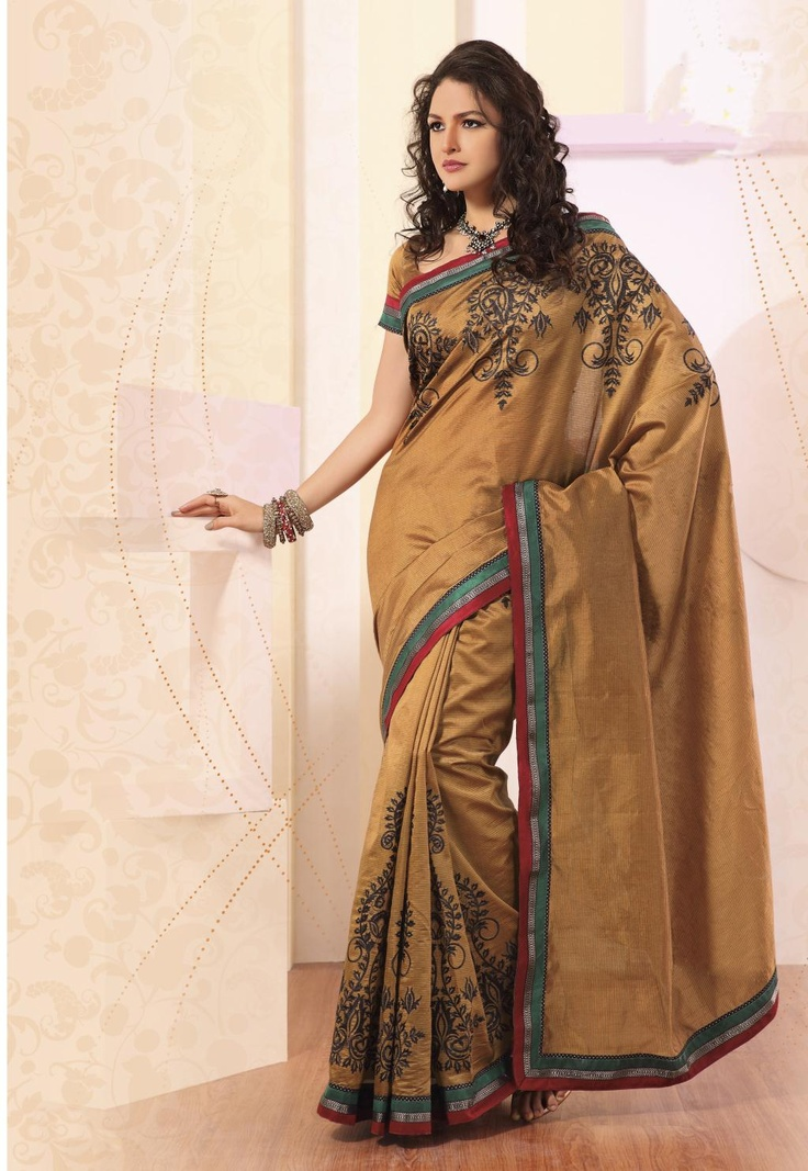 $79.30 Brown Silk Saree 21855 With Blouse
