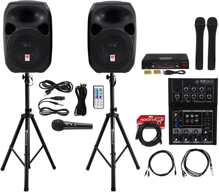 "(2) Rockville 12"" Dual Powered PA Speakers+Mackie Mixer+(3) Mics+Stands+Cables: Get it for $274.95 (was $931.95) #coupons #discounts"
