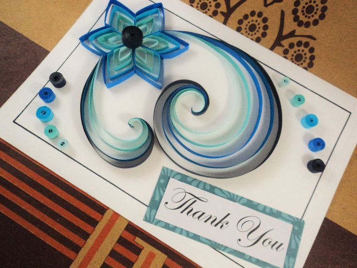 Blue Flower Quilled Card