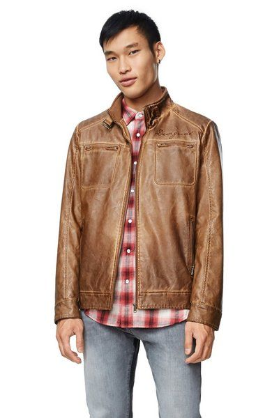 Desigual ANDREW jacket for men. Zip front, vegan leather that looks sharp. Fall-Winter 2017 collection for men, now on sale at 20% off. Angel has the latest Desigual for men, women & kids.