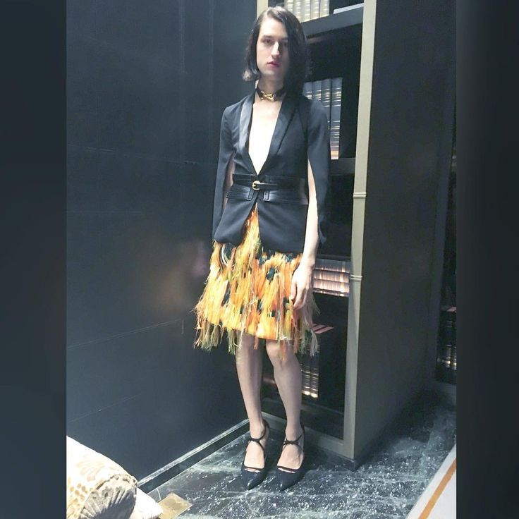 julian_godfreyI felt like a parrot in my Emilio Pucci SS 16 skirt. @emiliopucci #pucci #emiliopucci #skirt #fashion #style #outfit #clothes #colorful #jacket #heels #gothic #photo #model #photography #pale #ootd #potd #photooftheday #outfitoftheday #instafashion #instastyle #androgynous #igers #lgbt #instagood #instagram #instagramers #designer #black #yellow
