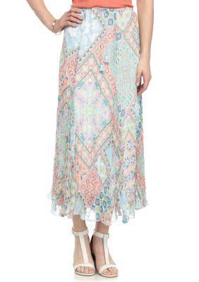 Ruby Rd Sprout Multi Petite Ti Amo Yoryu Broomstick Skirt