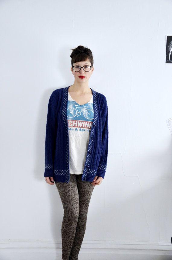 Dark Blue Floral Print Trim Vintage Hipster Sweater Country Cardigan