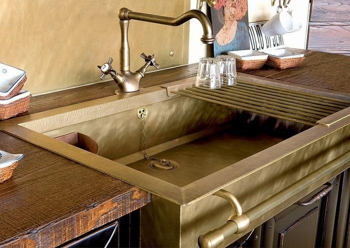 Медные раковины для кухни в ретро-стиле от фабрики Restart