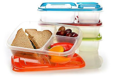 Easylunchboxes 3 Compartment Bento Lunch Box Containers Set of 4 Classic | eBay