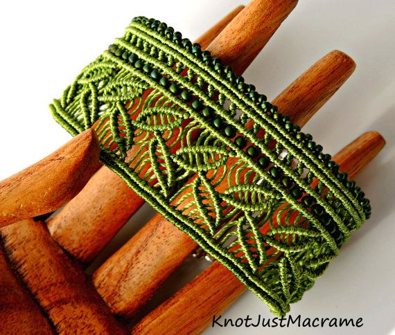 This green micro macrame cuff is my newest original design and features a leafy pattern running the length of the bracelet accented with rows of
