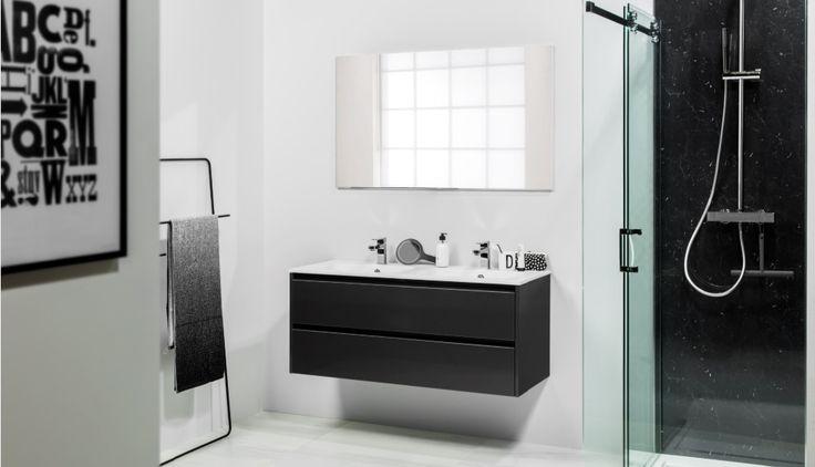 Afbeeldingsresultaat voor badkamer met zwarte elementen