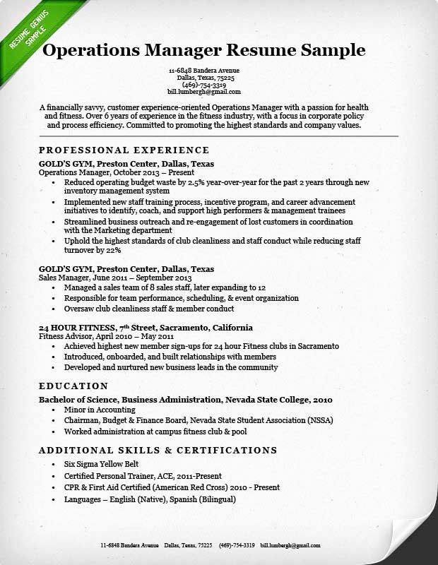 Operations Manager Resume Examples Beautiful Operations Manager Resume Sample In 2020 Sample Resume Sample Resume Cover Letter Manager Resume