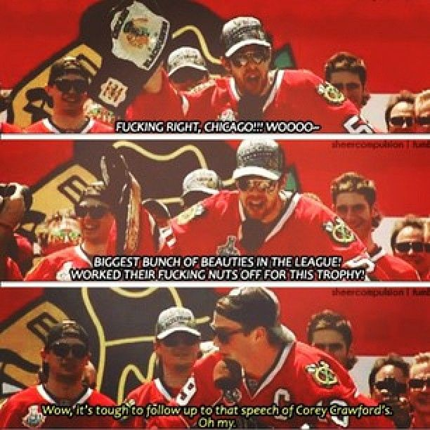 When you're the goalie who wins the cup, you can say whatever you want on national television. Best victory speech EVER.