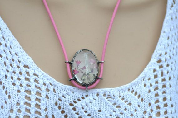 terrarium necklace real flowers jewelry glass necklace by zolanna
