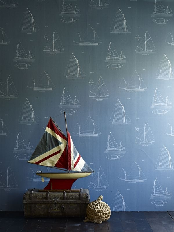 LW32/1 - Finisterre. With sketches of sail boats on a deep teal background this wallpaper is perfect for someone with a passion for sailing. Also available in 2 more neutral shades. RRP for a 10m roll is £84.95 inc. VAT.