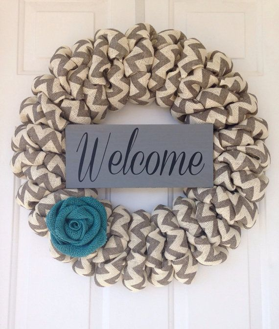 Personalized handcrafted cream and gray chevron burlap wreath with vinyl welcome sign, Large custom vintage wedding decorative wreath