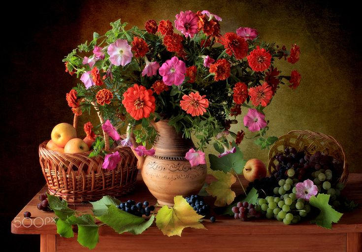 With flowers and fruits - null
