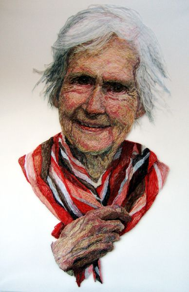 Jenni Dutton_Mum with Red Scarf_Thread sewn into dress netting stretched over canvas