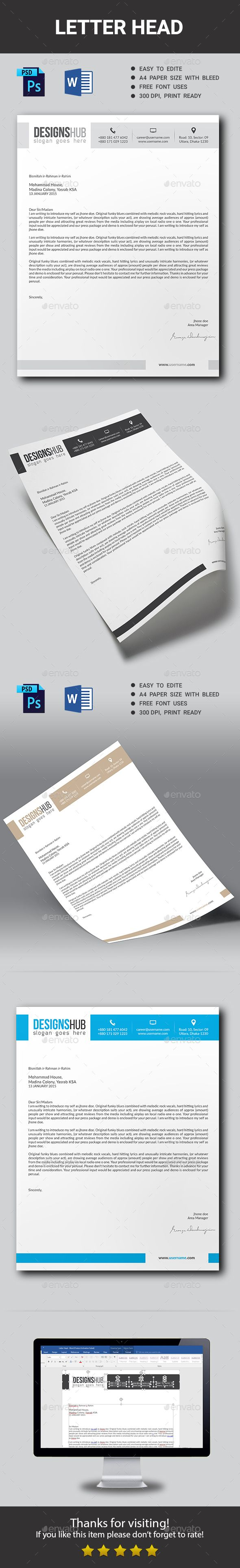 #Corporate #Letter Head - Stationery Print #Templates Download here:  https://graphicriver.net/item/corporate-letter-head/14715283?ref=alena994