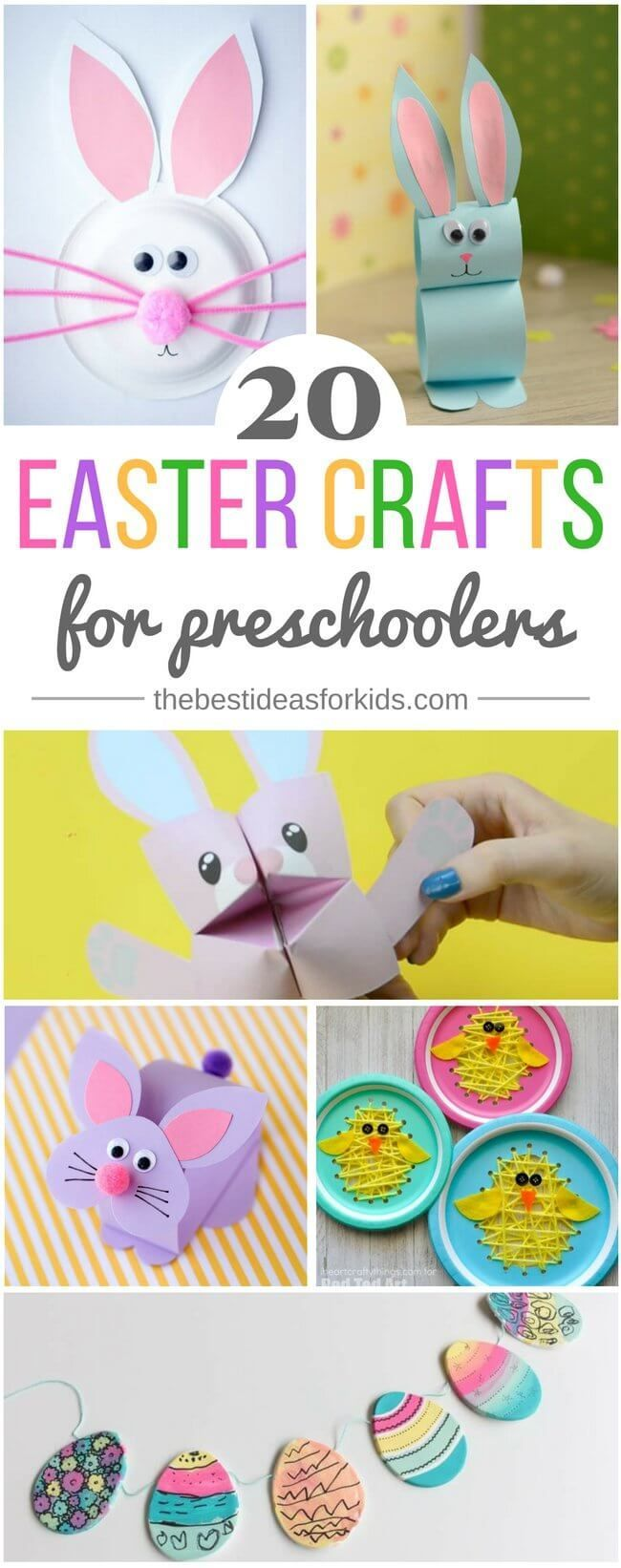 20 fun and simple Easter crafts for kids and preschoolers! So many cute bunny craft ideas! Easter crafts | Easter crafts for kids | Easter crafts for preschoolers | bunny crafts | bunny paper plates | easter string art | bunny paper craft | bunny cootie c