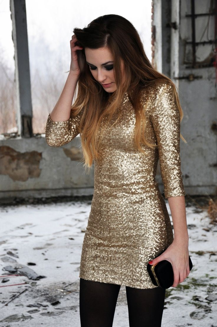 Love this gold dress with the black tights for a cold christmas or new years outfit!