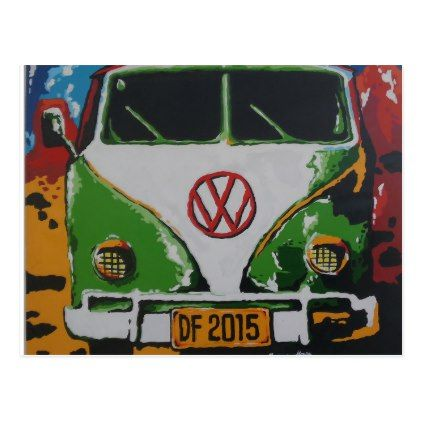 VW Campervan green painting style postcard - diy cyo personalize design idea new special custom