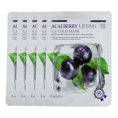 Ladykin Acai Berry Lifting Ice Cold Mask Sheet Pack of 5 Korean Mask Sheet Instantly make it appear firmer lifted and plumper Smoothing fine lines with acaiberry extract  Large Size >>> See this great product.