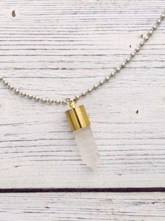 Clear quartz bullet necklace collana di quarzo