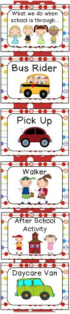 Primary Polka Dot Transportation Chart, perfect for keeping tracking of your kiddos after school routines!