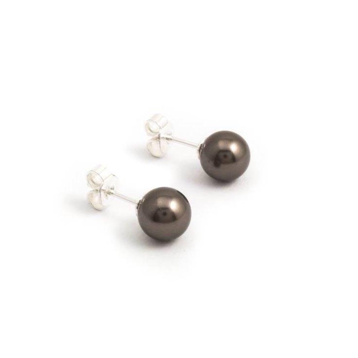 Bruine parel oorknopjes van 8 mm brown pearl Swarovski parels