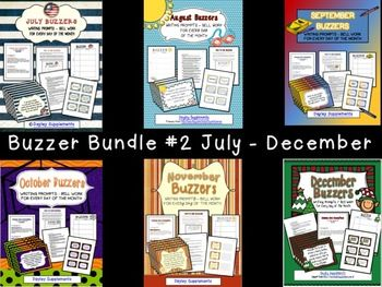 """BUNDLE AND SAVE! This bundled packet contains all of the Buzzers from July through December! These are great classroom management tools! I love having a few minutes to take attendance before jumping in to class. Buzzers work like bell work or journal writing, with a little twist. The """"Buzzer"""" is the writing prompt. This packet includes 195 prompts, so you can be picky and choose the ones you like best since there are extras. On Monday, students are given what I call a Buzzer form."""
