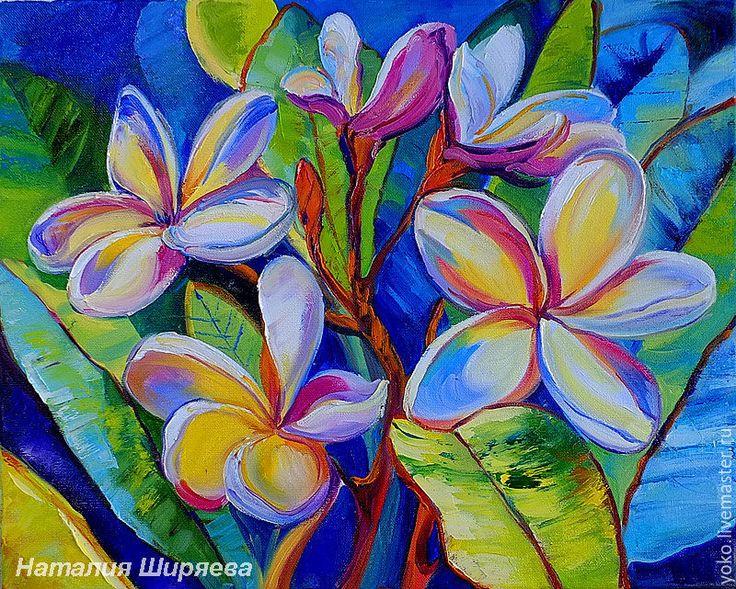 """Купить """"Зима в Тропиках"""" - картина маслом (плюмерия, Таиланд) - синий, плюмерия, тропические цветы, тропики"""