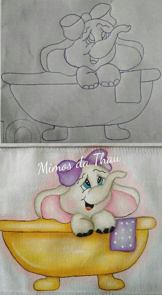 Pintura em tecido   elefante   infantil
