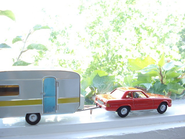 Orlando's special car and caravan from Lark. he keeps them in their boxes and they come out for special days!