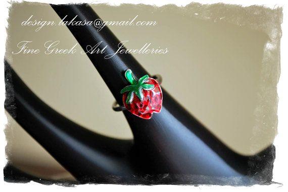 Strawberry Enamel Ring Sterling Silver 925 by #LakasaEshopDesign #ring #jewelry #strawberry #birthday #forher #kids #girl #children #moda #silver #jewellery #joyas #mujer #δαχτυλιδι #δωρο #γεννεθλια #φραουλα #σμαλτο #fruit #joy #ninos
