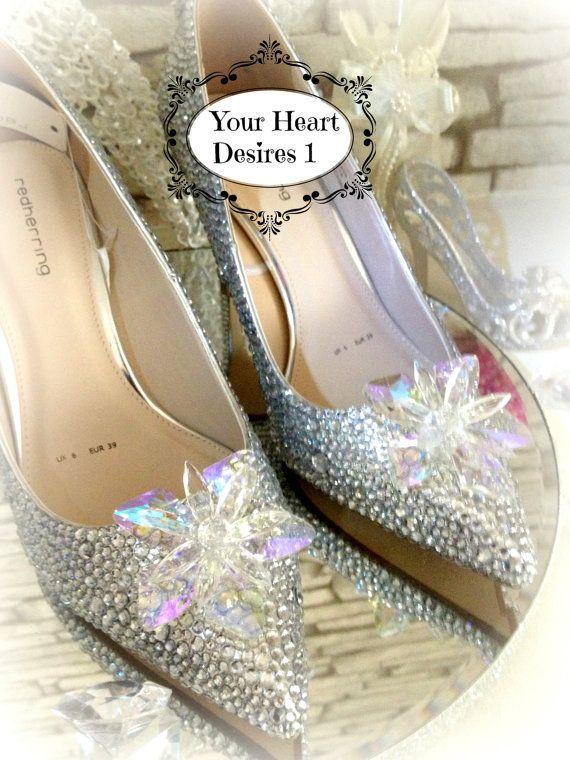 Cinderella Swarovski Look Crystals Diamante Wedding Shoes With Crystal Flower