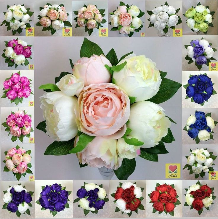 Artificial silk flower peony flowers wedding bouquet cintahomedeco