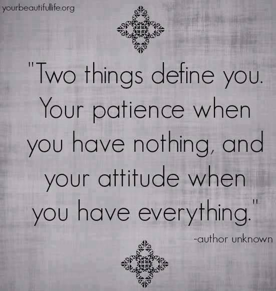 "Define Quote: ""Two Things Define You: Your Patience When You Have"