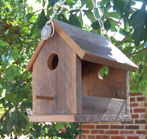 Wooden Bird House Bird Feeder, Recycled Reclaimed Natural Weathered Rough Cedar, Rustic Primitive