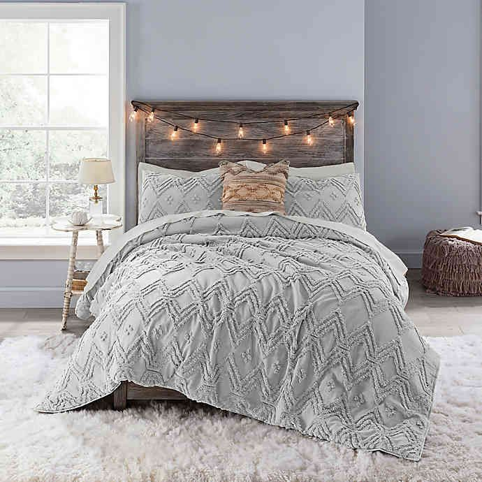 Anthology Chevron Tufted Comforter Set Bed Bath Beyond Grey Bedroom With Pop Of Color Comfortable Bedroom Bedroom Design