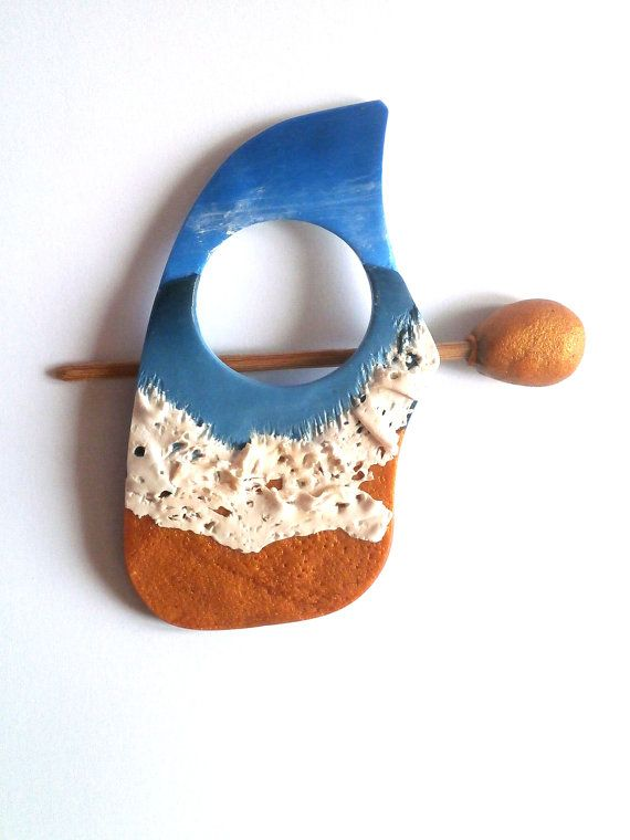Blue sea polymer clay beach sky hair pin or shawl pin by Lijoux