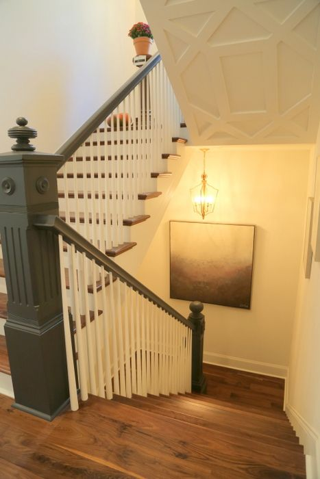 Paint Colors for the Southern Living Showcase House - The Decorologist    Sherwin-Williams Iron Ore is also the color of the handrails and newel posts on the stairs.