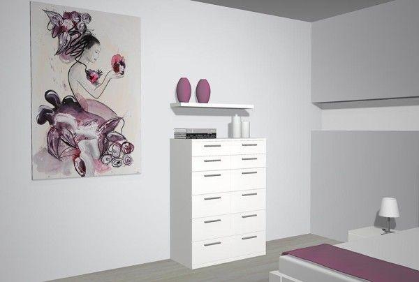 Proyecto del dormitorio con la cama de doble somier